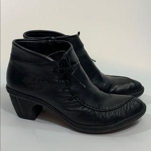 Rieker black leather ankle boots side tie zip 7